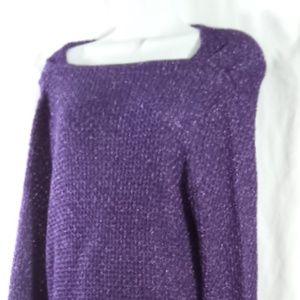Jones New York Purple Metallic Sag Sweater Med NWT